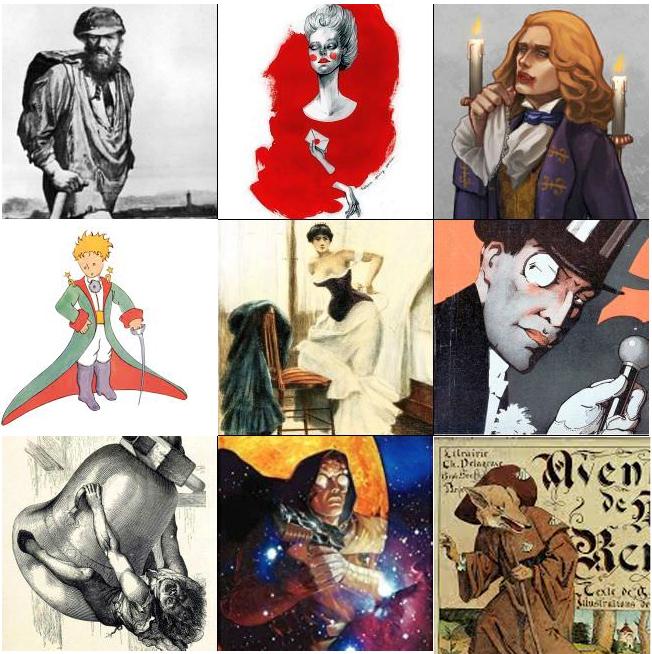 Jean Valjean, la Marquise de Merteuil, Lesrat de Lioncourt, Emma Bovary, Arsene Lupin, Quasimodo, Nyctalope
